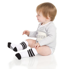 White with Black and Gray Stripe Tube Socks