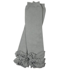 Heavenly Gray Triple Ruffle Leg Warmers