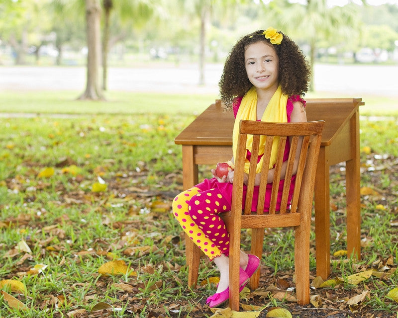 Hot Pink and Yellow Dot Footless Tights