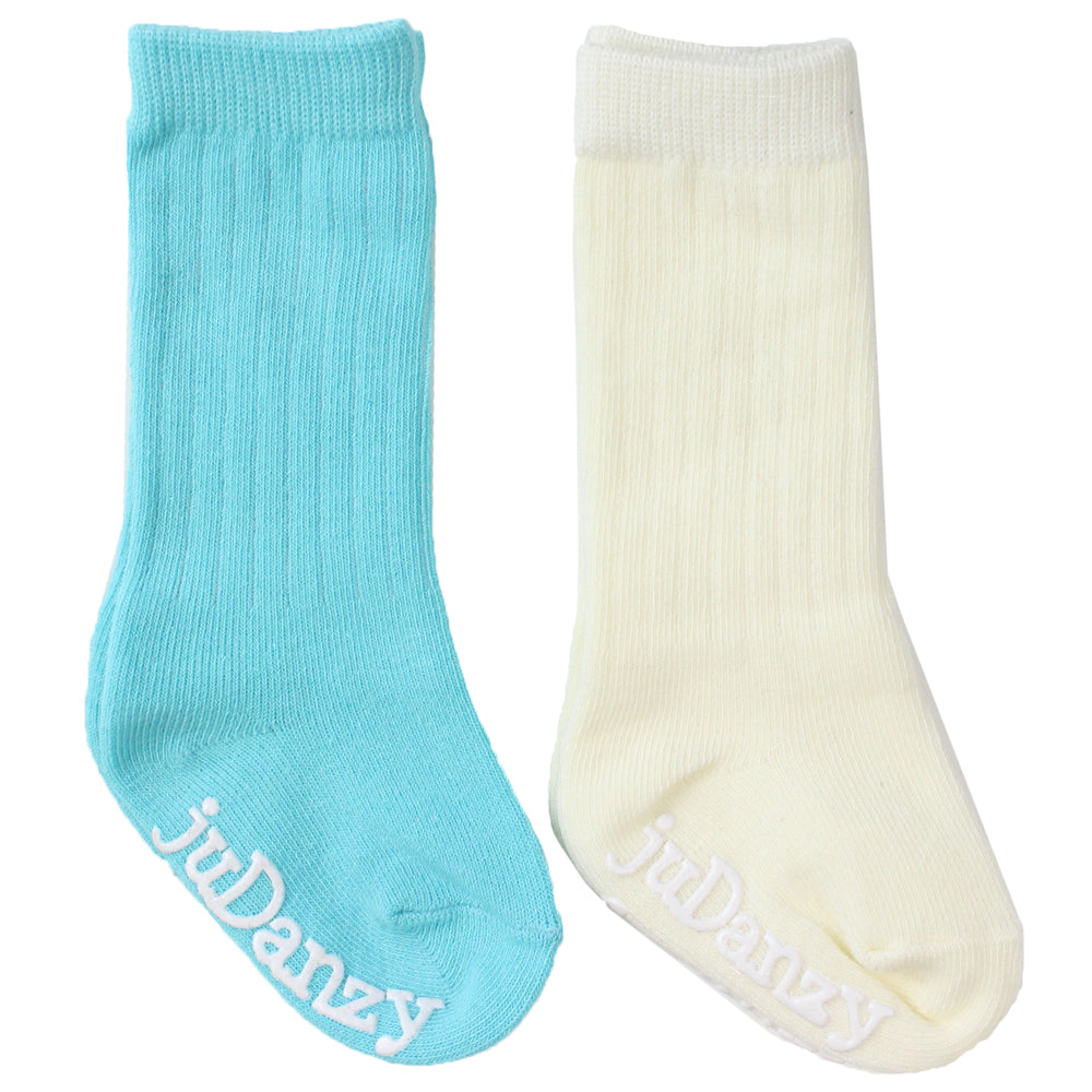 Turquoise and Cream Mid-Calf Socks