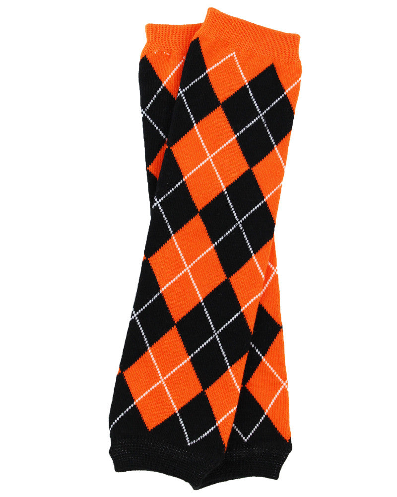 Team Orange and Black Argyle Leg Warmers