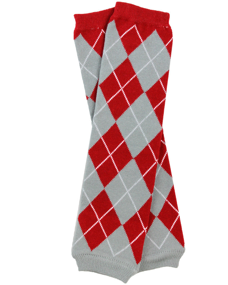 Team Red and Gray Argyle Leg Warmers