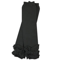 Solid Black Triple Ruffle Leg Warmers