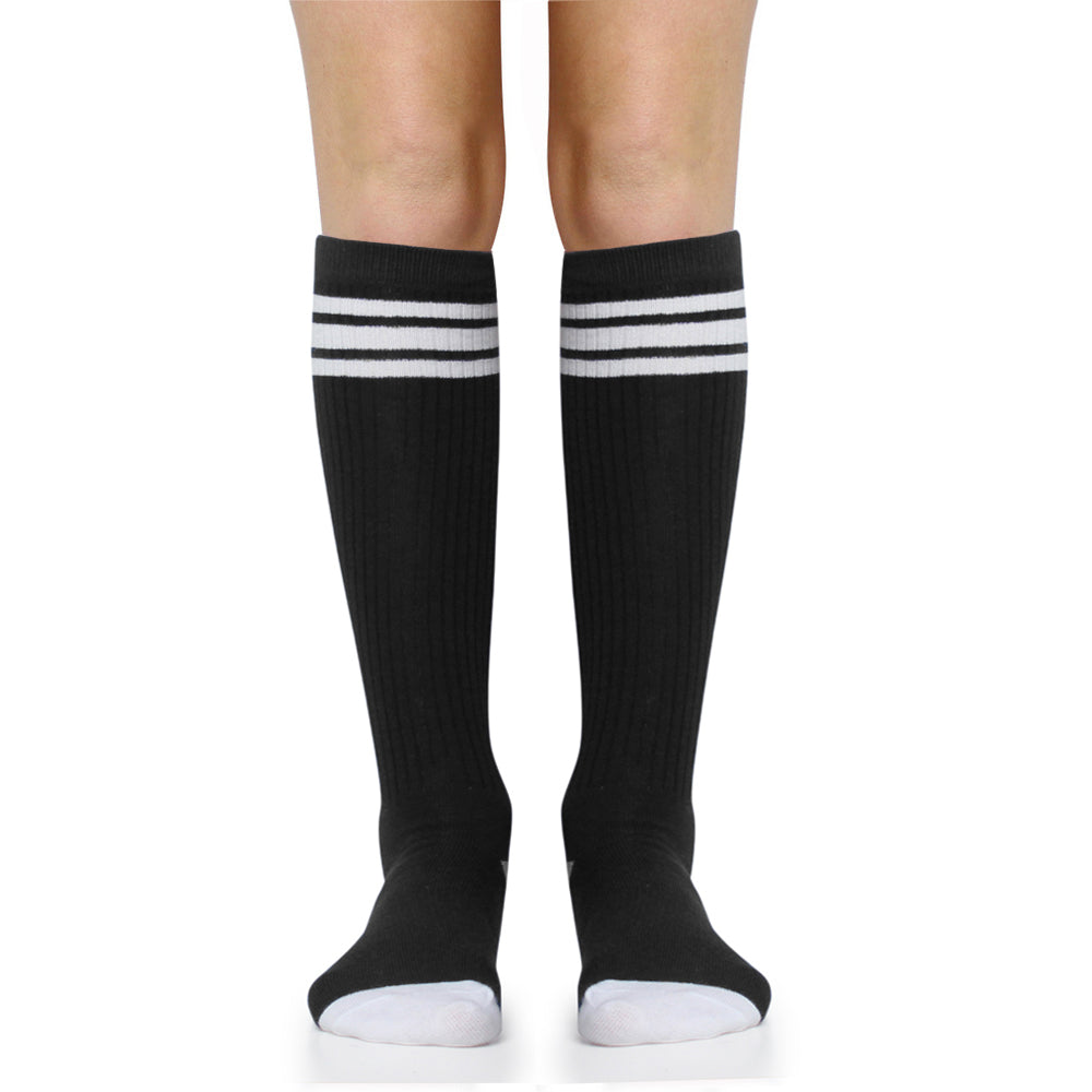 Black with White Stripe Tube Socks (Adult)