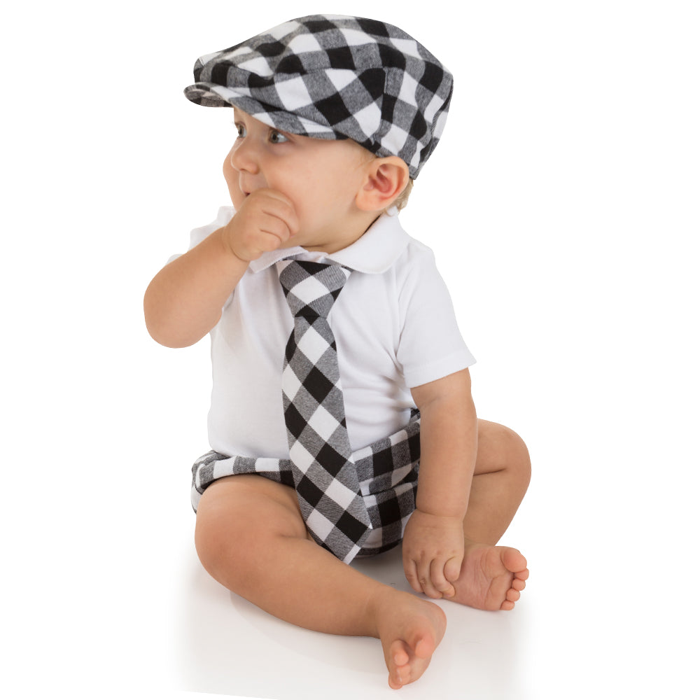 Black and White Buffalo Plaid Cabbie Hat