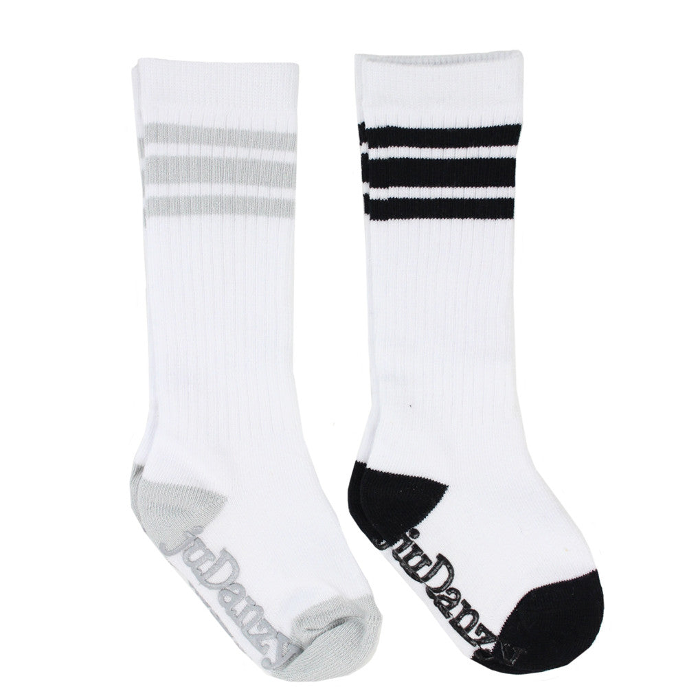 White with Gray and Black Stripe Tube Socks
