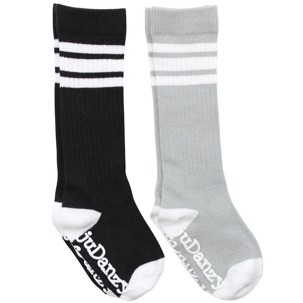 Black and Gray with White Stripes Tube Socks