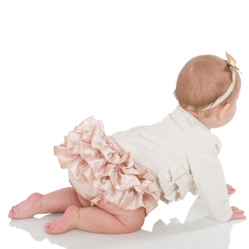 Champagne Satin Tutu Diaper Cover