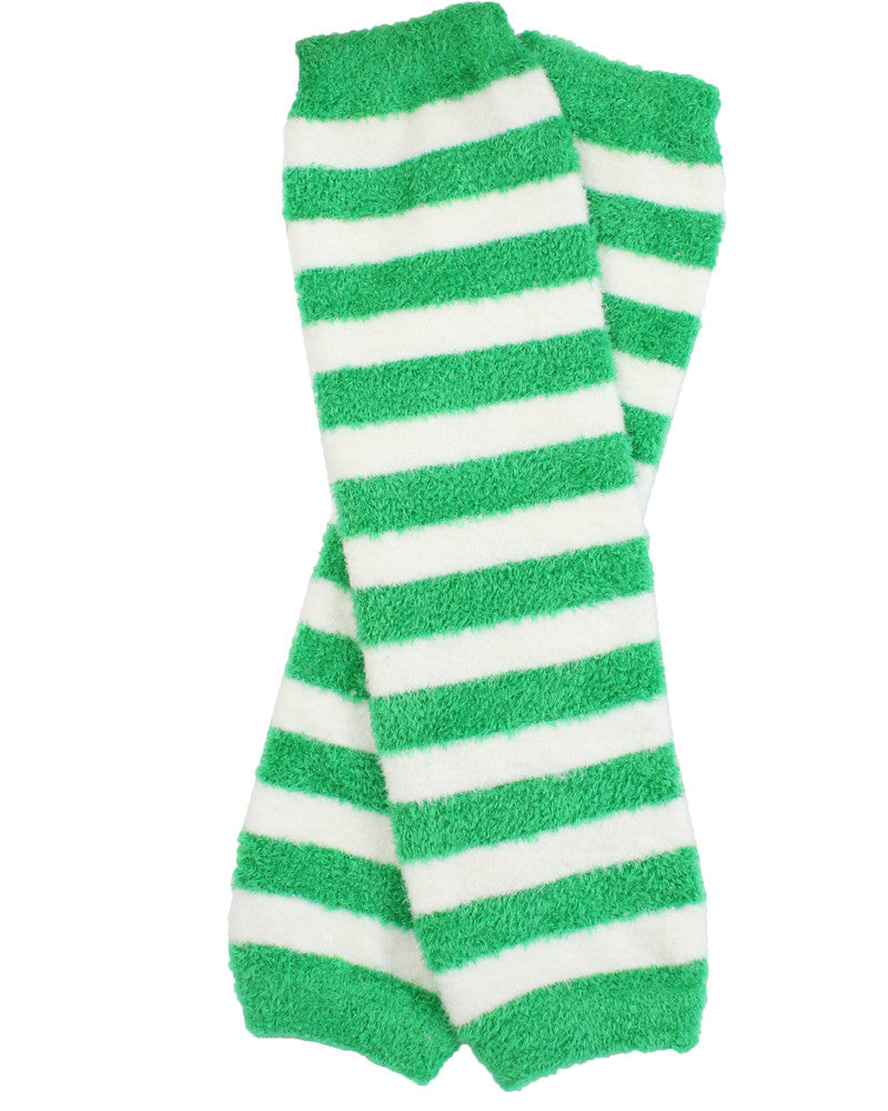 Cozy Green and White Stripe Leg Warmers (newborn)