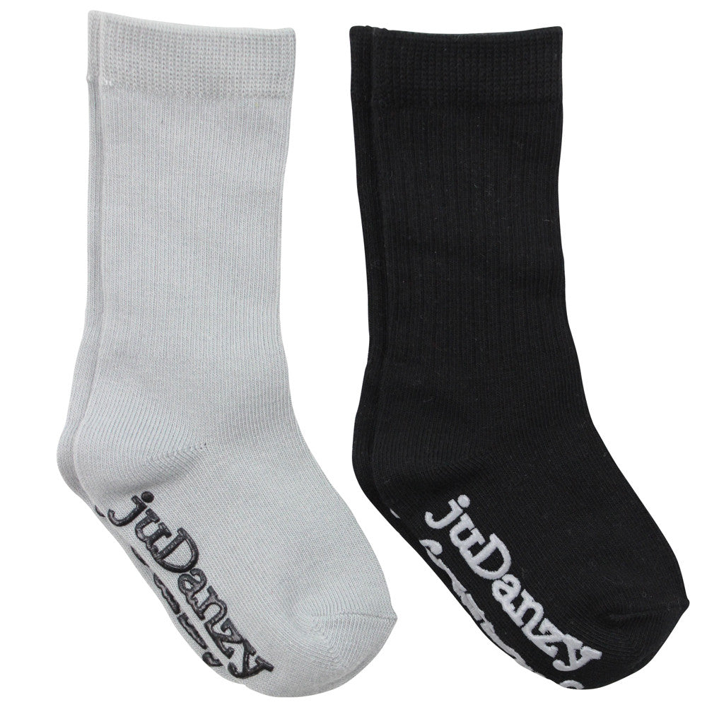 Gray and Black Mid-Calf Socks