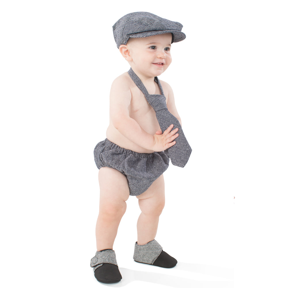 Black & Gray Tweed Diaper Cover