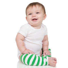Green and White Stripe Leg Warmers