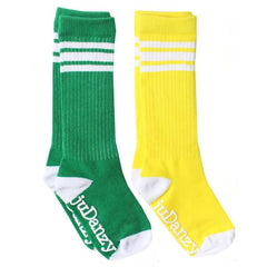 Green and Yellow with White Stripes Tube Socks