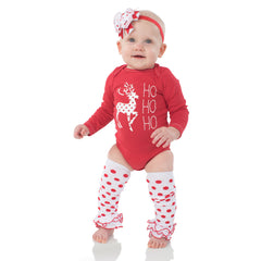 White with Red Dot Triple Ruffle Leg Warmers