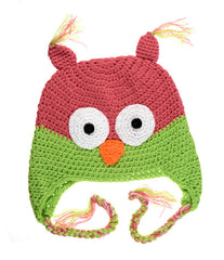 Hot Pink and Green Owl Hat