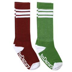 Maroon and Forest Green with White Stripes Tube Socks