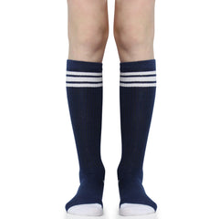 Navy and Columbia Blue with White Stripes Tube Socks