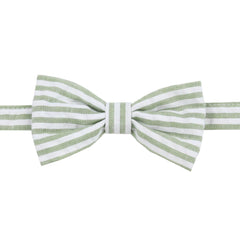 Olive Green Stripe Bow Tie