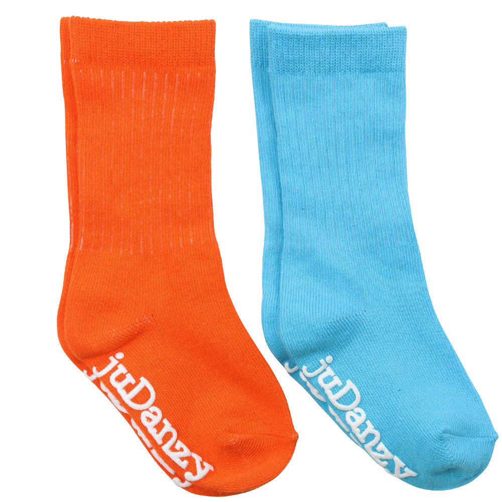 Orange and Turquoise Mid-Calf Socks