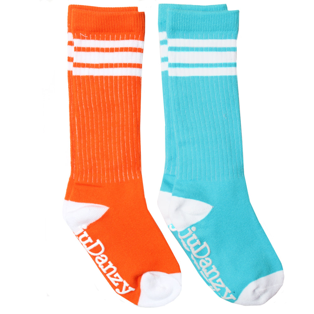 Orange and Turquoise with White Stripes Tube Socks