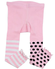 Pink and Black Polka Stripe Footless Tights
