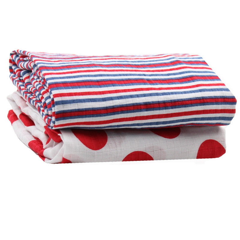 Red and Blue Muslin Blankets