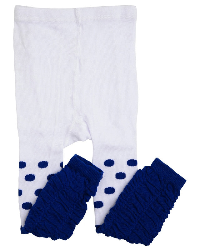 White and Blue Dot Rouched Footless Tights