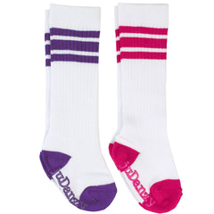 White with Purple and Hot Pink Stripes Tube Socks