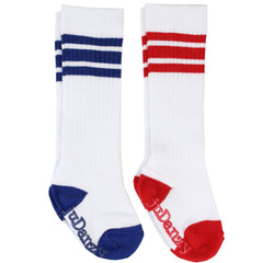 White With Blue and Red Stripes Tube Socks