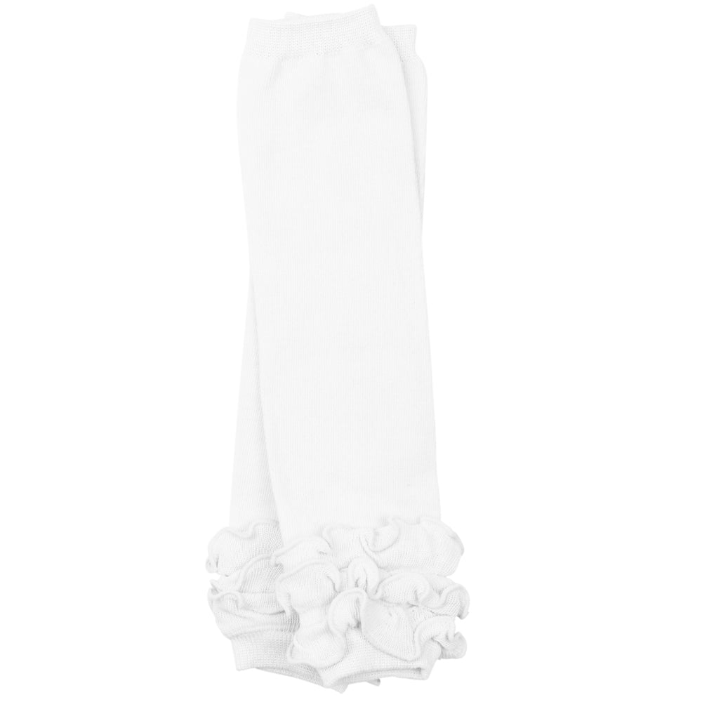 Solid White Triple Ruffle Leg Warmers