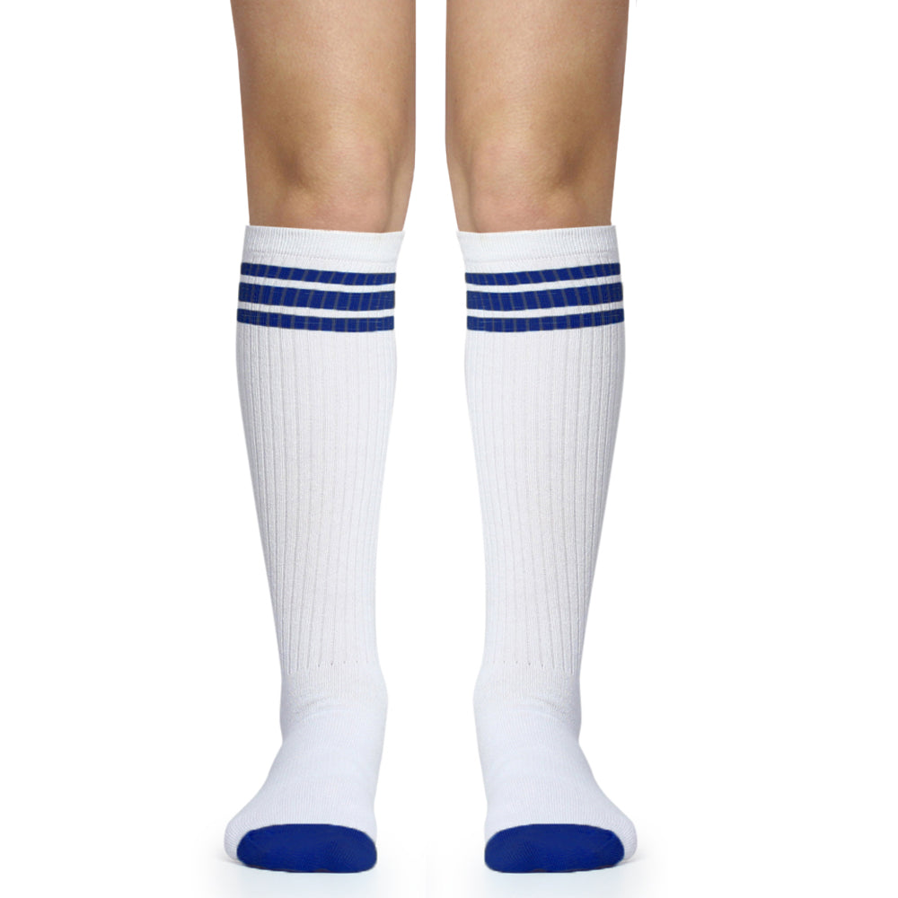 White with Blue Stripe Tube Socks (Adult)
