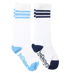 White with Columbia Blue and Navy Stripes Tube Socks