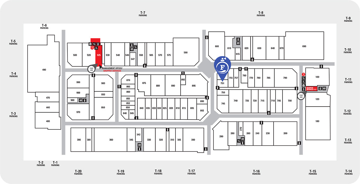 a5223439ddf We are located in front of the Calvin Klein Store and few steps from the  Gap Outlet Store.
