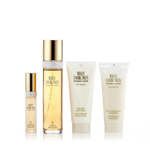 White Diamonds Gift Set Eau de Toilette, Mini, Body Cream and Body Wash for Women by Elizabeth Taylor 3.3 oz.