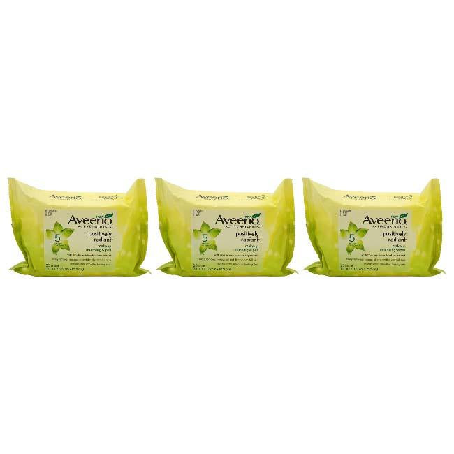 Positively Radiant Makeup Removing Wipes By Aveeno For Women - 25 Count Wipes - Pack Of 3