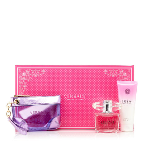 Versace Bright Crystal With Pochette Gift Set Womens 3.4 oz.