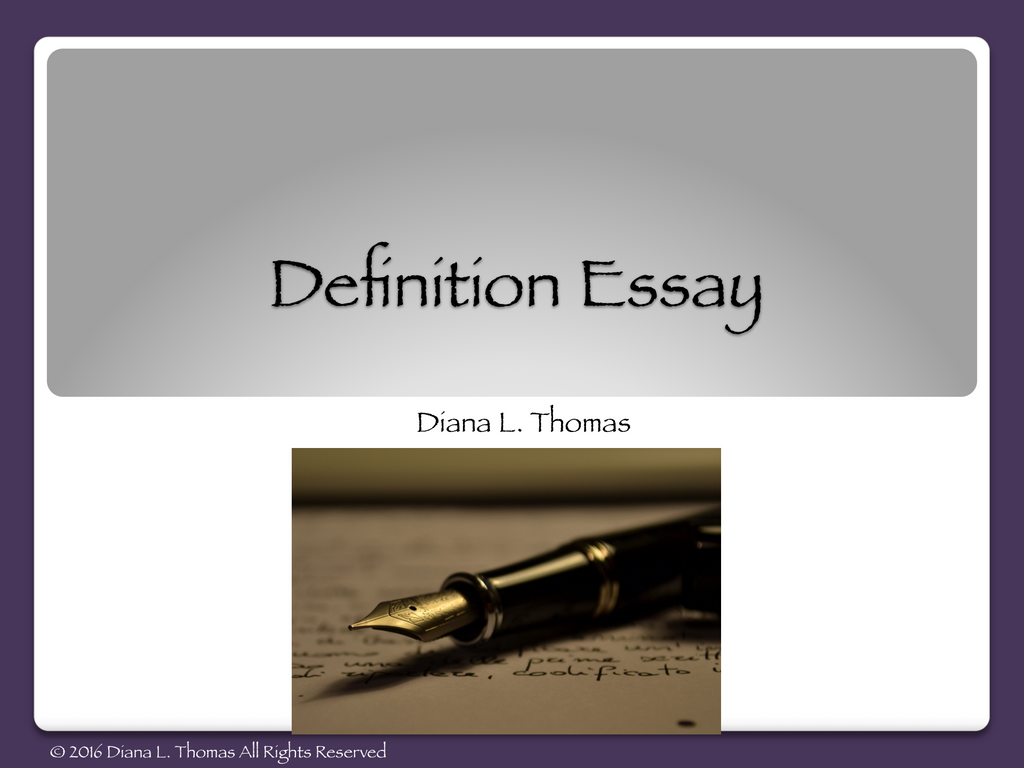Definition Essay Lesson