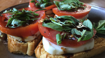 Maple Balsamic Reduction over Basil Mozzarella Crostini ~ Recipe!