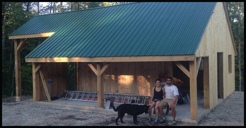Us ~ in front of the *new* sugar shack!