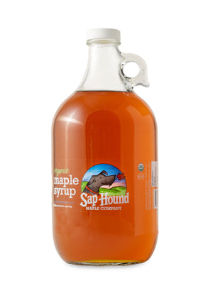 Sap Hound Maple Company Organic Maple Syrup in a glass half gallon jug