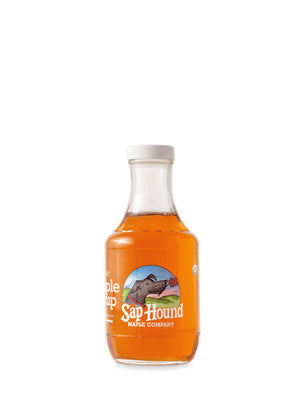 Sap Hound Maple Company Organic Maple Syrup in a glass Pint