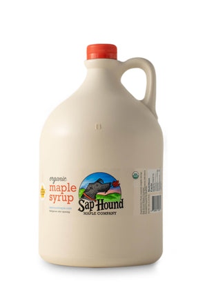 Sap Hound Maple Company Organic Maple Syrup in a plastic gallon