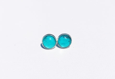 TEAL Stud Earrings, Nickel Free, Hypoallergenic, Gifts under 20