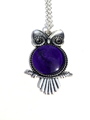 PURPLE Watercolor Owl Pendant, Owl Jewelry, Holiday Gifts