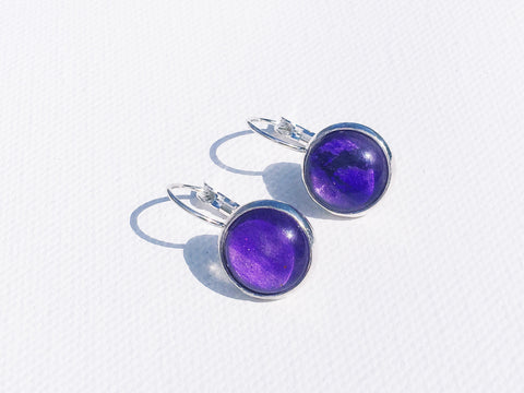 PURPLE Lever Back Earrings, Nickel Free, Hypoallergenic, Colorful earrings