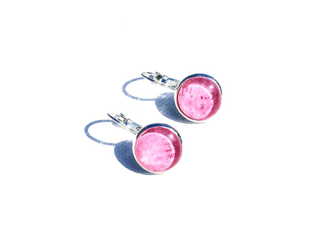 PINK Lever Back Earrings, Nickel Free, Hypoallergenic, Colorful earrings