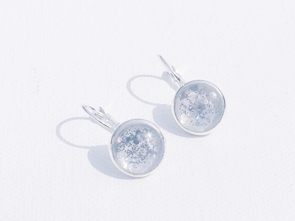 WHITE Watercolor Studs with Silver Glitter and lever backs