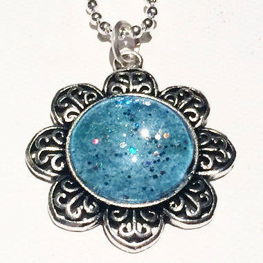 BLUE Watercolor Floral Pendant with Glitter