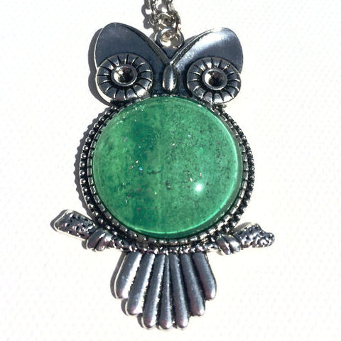 EMERALD GREEN Watercolor Owl Pendant with Glitter