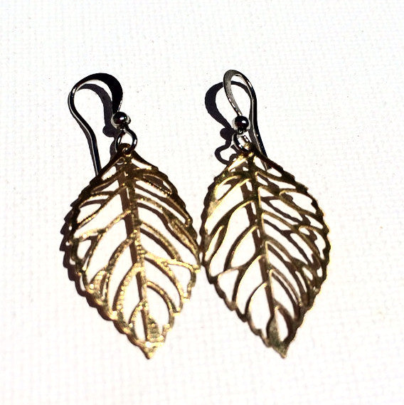 SALE GOLD PLATED Extra Small Leaf Earrings with Silver Ear Wires